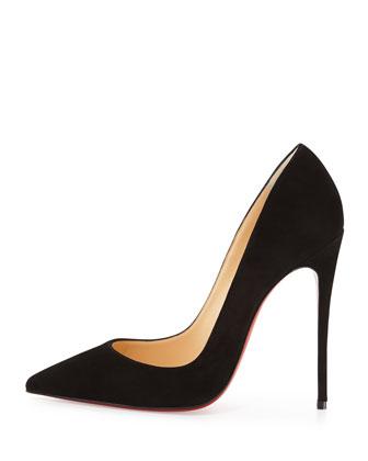 CHRISTIAN LOUBOUTIN Black Suede 'So Kate' Stiletto Pumps at Neiman Marcus