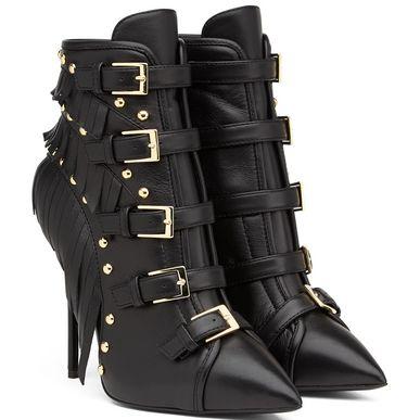 GIUSEPPE ZANOTTI Black Leather 'Yvette Jeti' Fringe Detail Ankle Booties' at Giuseppe Zanotti