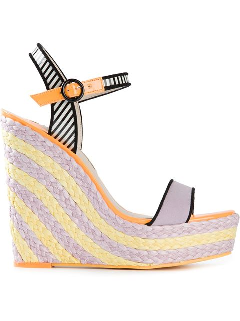 SOPHIA WEBSTER Lucita Striped Espadrille Wedge Sandals at Farfetch