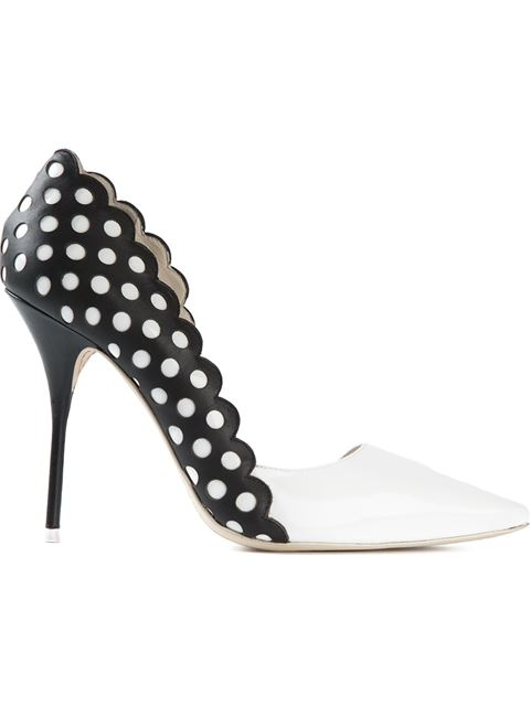 SOPHIA WEBSTER Mika Polka Dot-Paneled Patent Leather D'Orsay Pumps at Farfetch