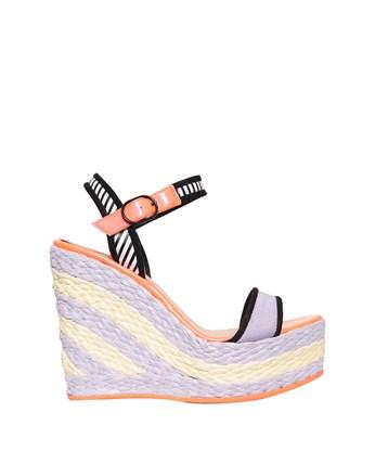 SOPHIA WEBSTER Lucita Striped Espadrille Wedge Sandals in Lilac