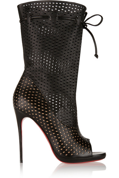 CHRISTIAN LOUBOUTIN Black Perforated Leather 'Jennifer 120' Open-Toe Boots' at NET-A-PORTER