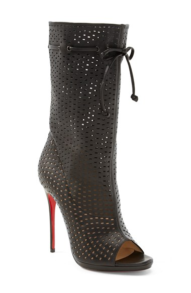 CHRISTIAN LOUBOUTIN Black Perforated Leather 'Jennifer 120' Open-Toe Boots' at Nordstrom