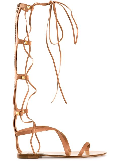 VALENTINO 'Rockstud' Gladiator Leather Sandals in Light Cuir