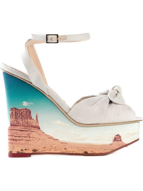 CHARLOTTE OLYMPIA Panoramic Miranda Canvas Wedge Sandals at Farfetch