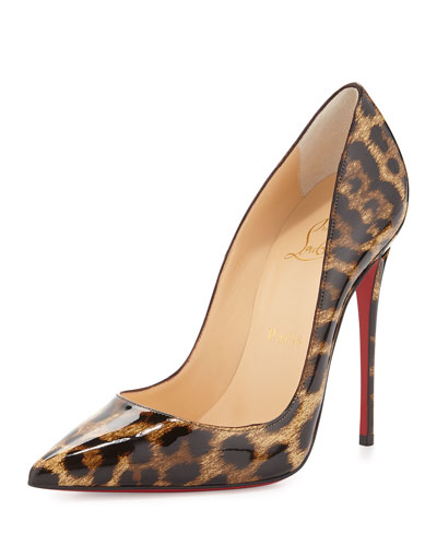 CHRISTIAN LOUBOUTIN So Kate Patent Red Sole Pump, Brown/Leopard at Neiman Marcus