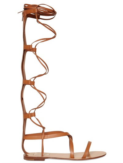 VALENTINO Rock Stud Leather Knee-High Gladiator Sandals in Tan