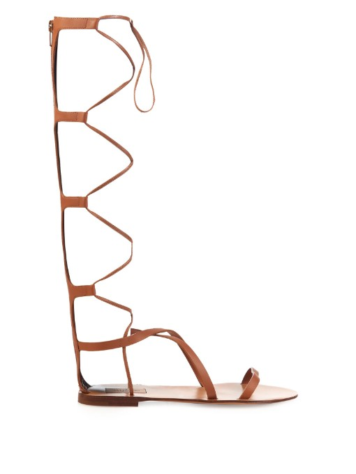 VALENTINO Rock Stud Leather Knee-High Gladiator Sandals at MATCHESFASHION.COM