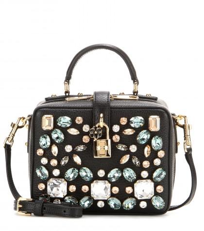 DOLCE & GABBANA Embellished Leather Shoulder Bag at mytheresa.com