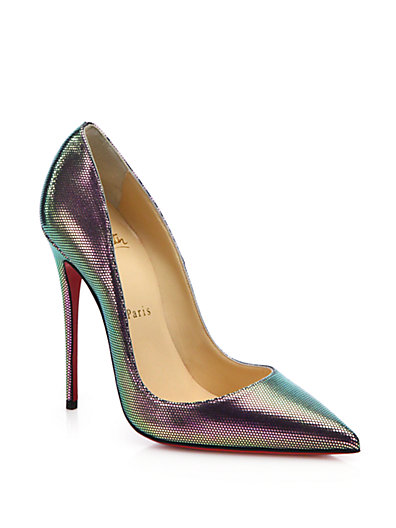 CHRISTIAN LOUBOUTIN So Kate Scarabe Leather & Mesh Pumps in Silver-Multi