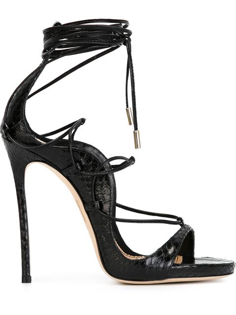 DSQUARED2 120Mm Elaphe Snakeskin Lace-Up Sandals, Black at Farfetch