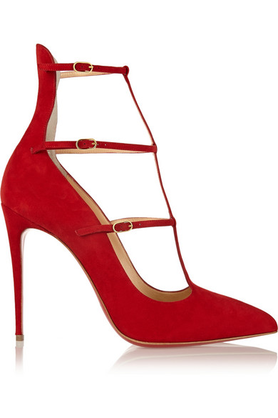 CHRISTIAN LOUBOUTIN Muse Suede Triple-Strap Pumps at NET-A-PORTER