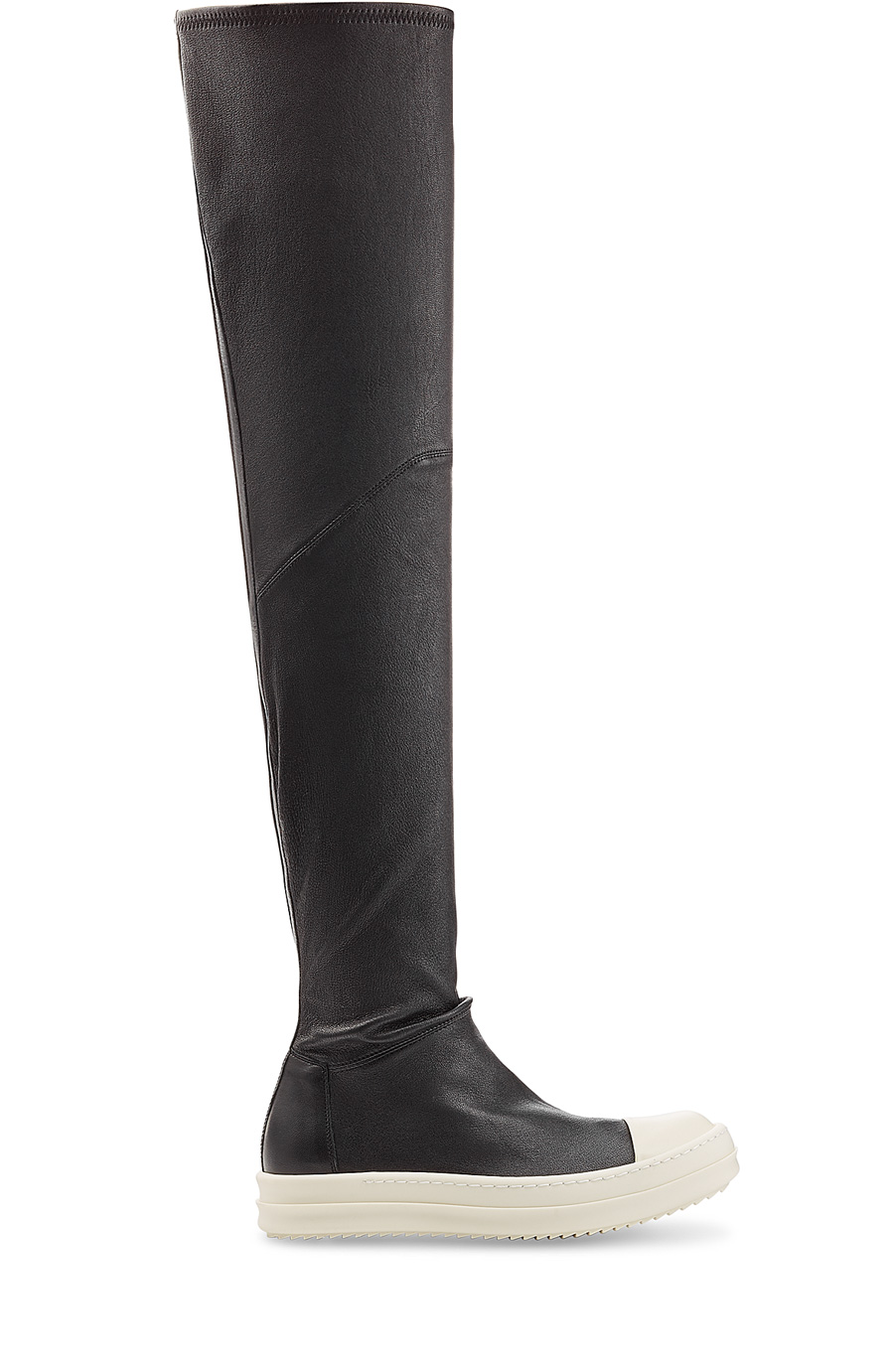 RICK OWENS Over The Knee Stretch Leather Sneakers, Black/White at STYLEBOP.com