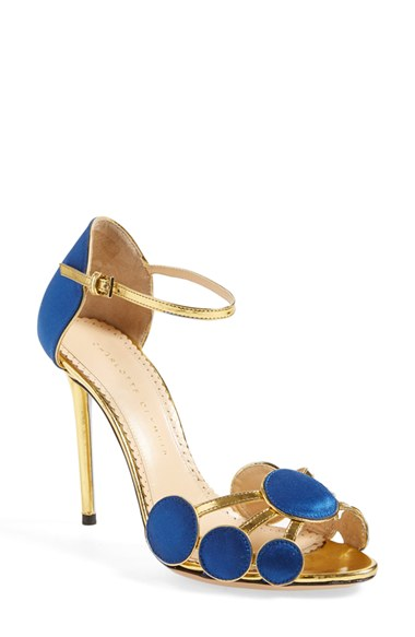 CHARLOTTE OLYMPIA Cobalt Blue Satin Silk And Leather Contemporary Sandal at Nordstrom