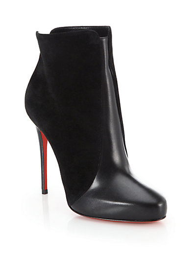 CHRISTIAN LOUBOUTIN Gaetanina Paneled Red Sole Bootie, Black at Saks Fifth Avenue