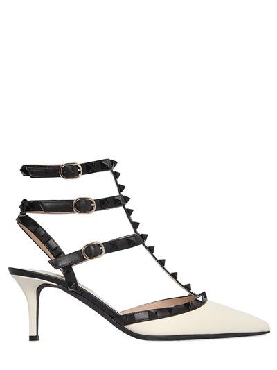 VALENTINO Rockstud Colorblock Leather Mid-Heel Sandal, Ivory/Black in White/Black