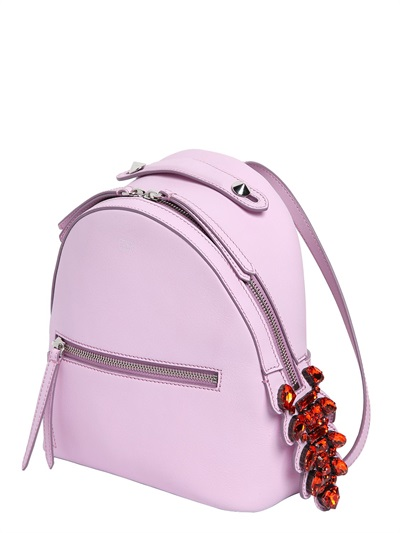 FENDI Leather Backpack W/ Crystal Tail Detail, Pink at LUISAVIAROMA