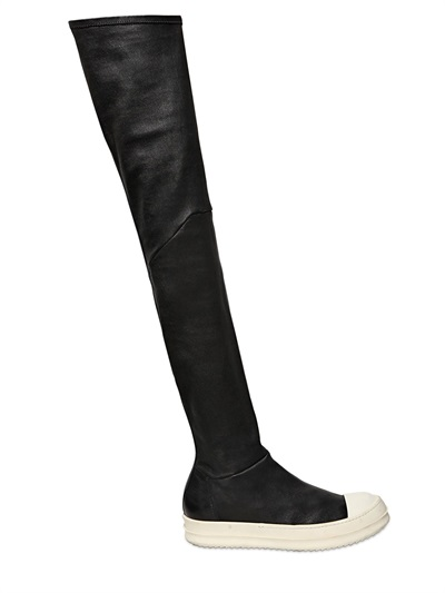 RICK OWENS Over The Knee Stretch Leather Sneakers, Black/White at LUISAVIAROMA