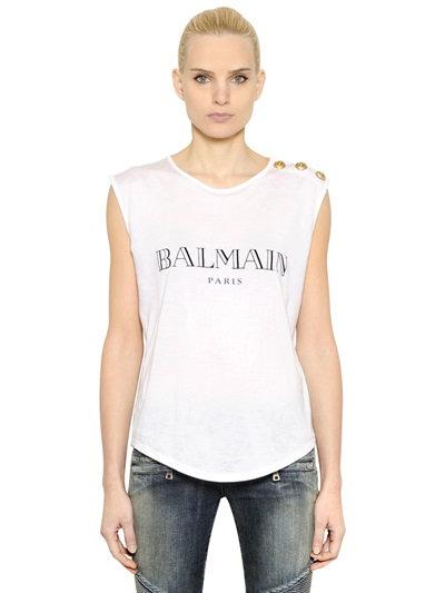 BALMAIN Logo Cotton Jersey Sleeveless Top, White at LUISAVIAROMA