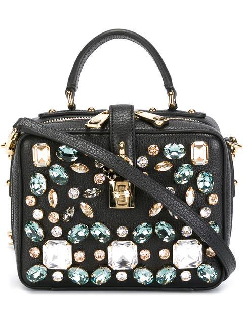 DOLCE & GABBANA Embellished Leather Shoulder Bag at Farfetch