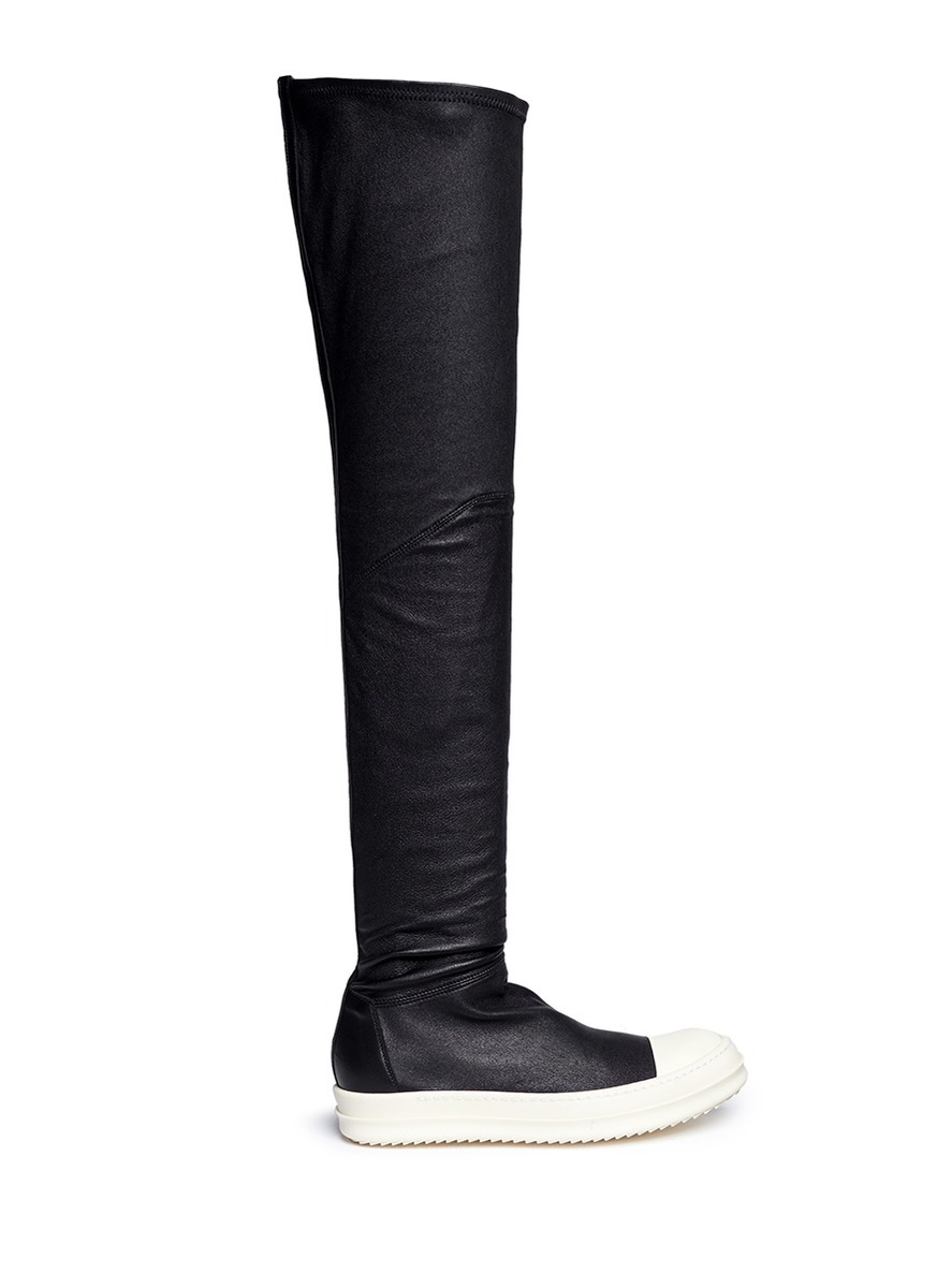 RICK OWENS Over The Knee Stretch Leather Sneakers, Black/White at Lane Crawford