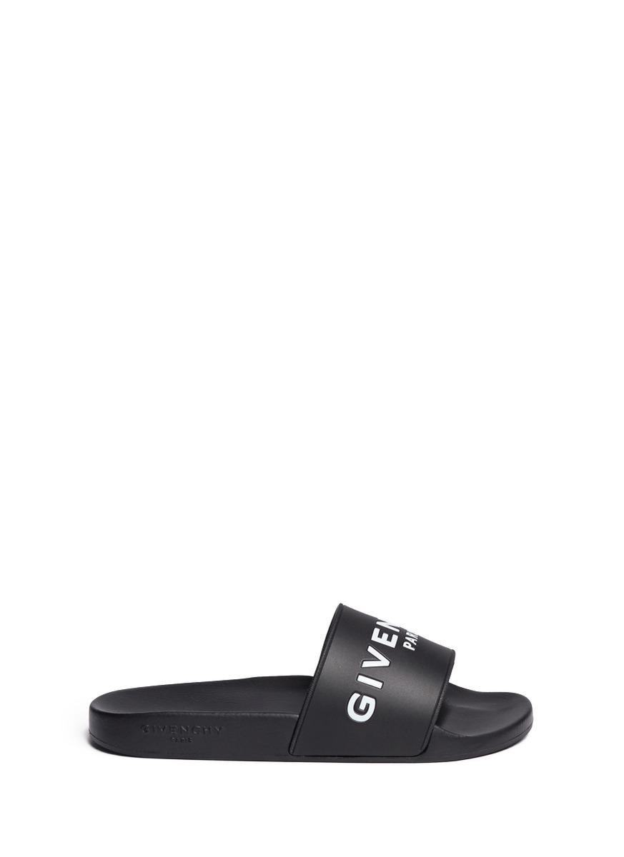 GIVENCHY 20Mm Logo Embossed Rubber Slide Sandals, Black at Lane Crawford