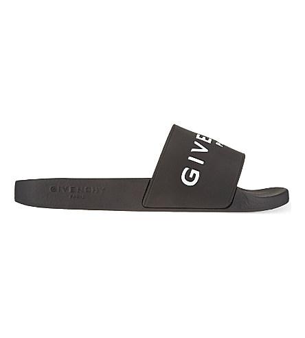 GIVENCHY 20Mm Logo Embossed Rubber Slide Sandals, Black at Selfridges