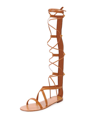 VALENTINO Rock Stud Leather Knee-High Gladiator Sandals at Neiman Marcus