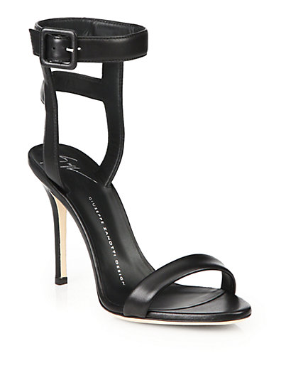 GIUSEPPE ZANOTTI Strappy Leather Sandals in Black