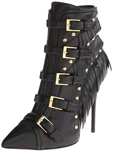GIUSEPPE ZANOTTI Black Leather 'Yvette Jeti' Fringe Detail Ankle Booties' at Amazon.com