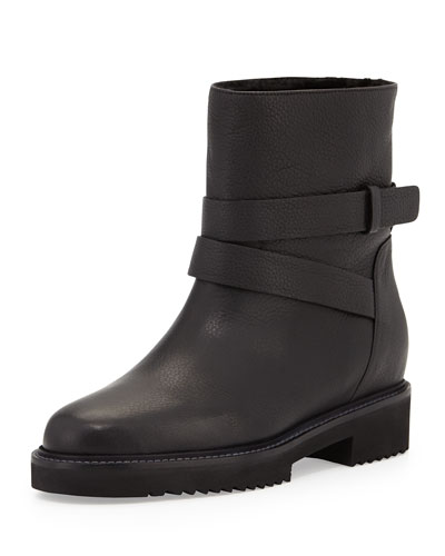 VINCE Cagney Shearling Fur-Lined Leather Moto Boot at Neiman Marcus