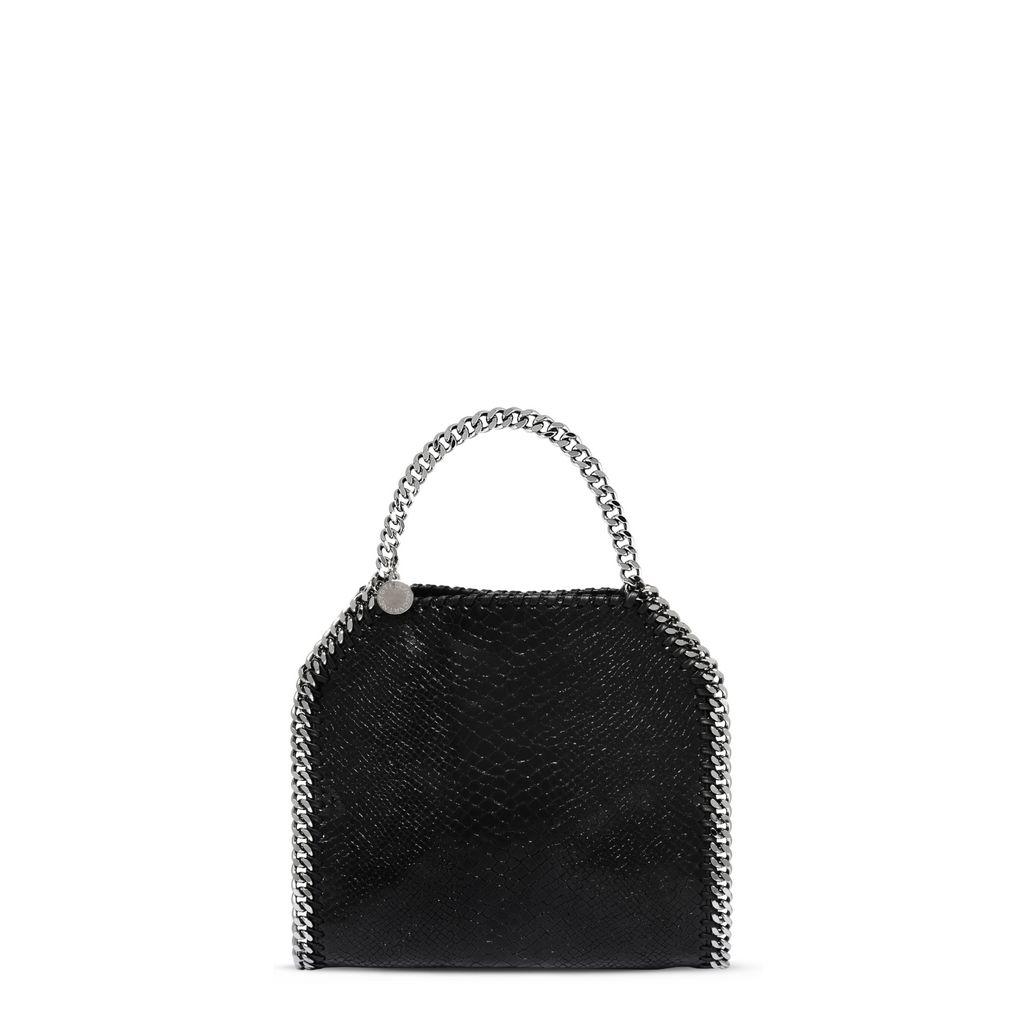 STELLA MCCARTNEY Black Faux Suede 'Falabella' Braided Chain Detail Mini Shoulder Bag at STELLA McCARTNEY