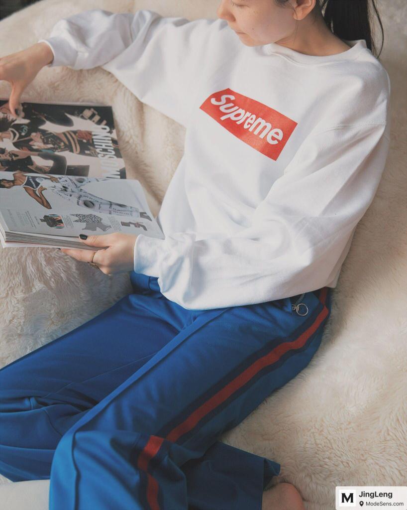 GUCCI Cotton Blend Jersey Sweatpants, Light Blue