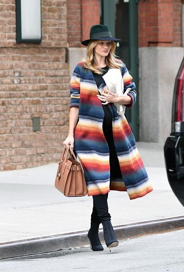 CHLOÉ Belted Stripe Cashmere Blend Coat