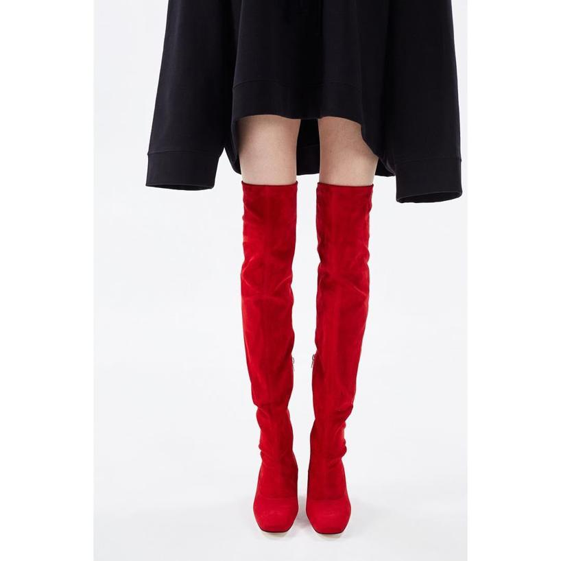 DORATEYMUR 60Mm Sybil Suede Over The Knee Boots, Red