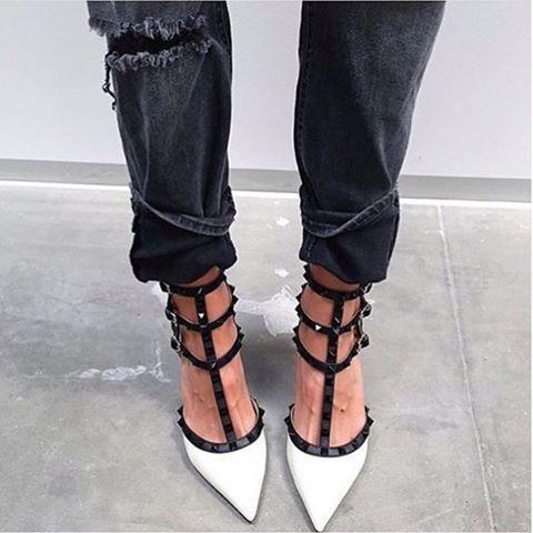 VALENTINO Rockstud Colorblock Leather Mid-Heel Sandal, Ivory/Black