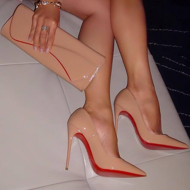 CHRISTIAN LOUBOUTIN Pigalle Follies Patent Point-Toe Red Sole Pump, Nude