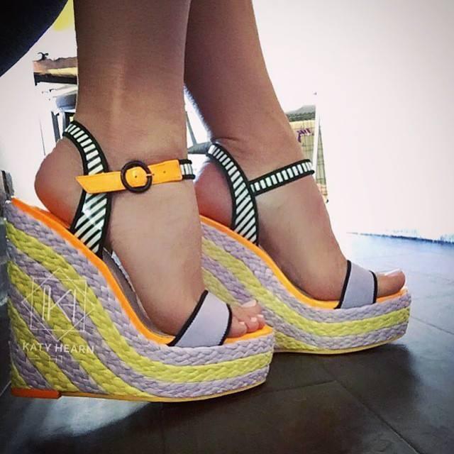 SOPHIA WEBSTER Lucita Striped Espadrille Wedge Sandals